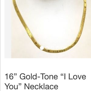 Jewelry - Gold tone herringbone necklace with I love you